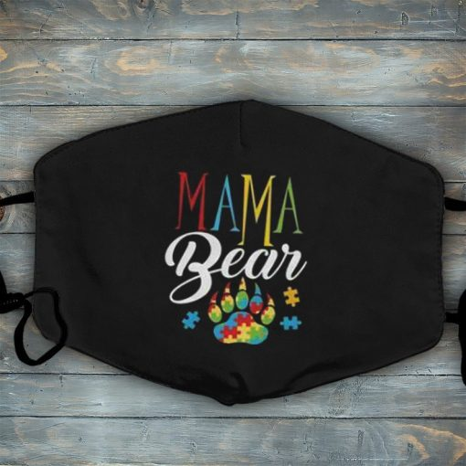 Autism Awareness Mama Bear Face Mask Puzzle Piece Washable Reusable Face Mask, Mother's Day Mask, Gift Mask For Autism Mom