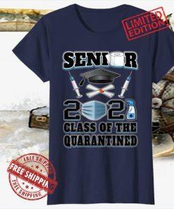 Class Of 2021 Mask Seniors Quarantine Decorations Graduation Shot Tee Shirt