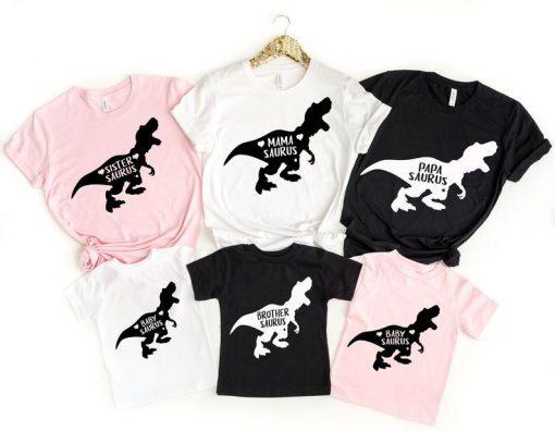 Dinosaur Family Shirts, Saurus Shirts, Family Matching T-shirts,Mama Saurus Shirt, Papa Saurus Shirt,Baby Saurus Matching family tee