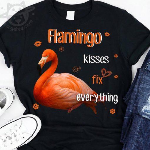 Flamingo kisses fix everything dog paw unisex shirt