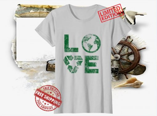 Love Earth Day 90s Vintage Recycling Kids or Teacher Gift Shirt