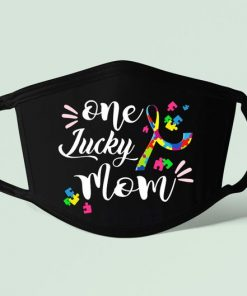 One Lucky Mom Autism Face Mask, Autism Face Mask, Mother's Day Mask