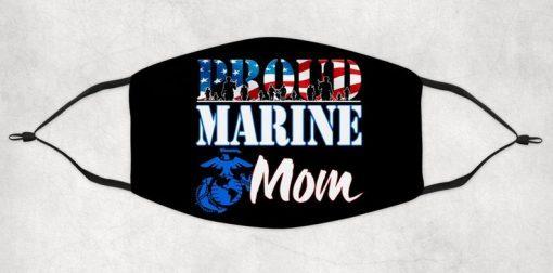 Proud Marine Mom Adult Face Mask 2021, Marine Mom face mask 2021, Washable face mask