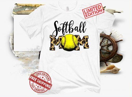 Softball Baseball Ball Mom Leopard Funny Mother's Day Womens T-Shirt