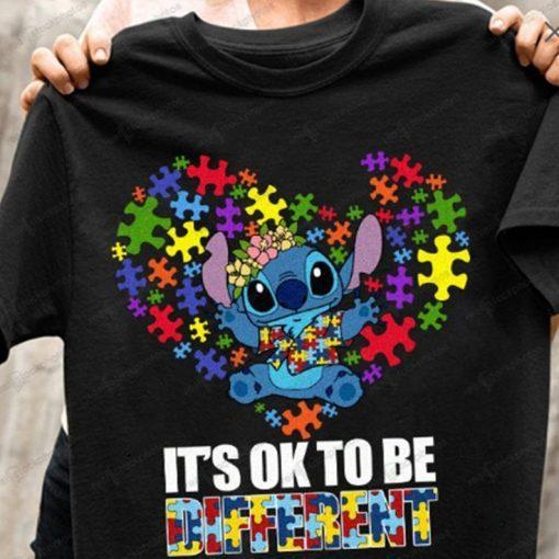 Stitch Autism Shirt, It's OK to Different Shirt Stitch Lilo Autism, Mother's Day 2021, Autism Awareness, Puzzle Ribbon, Tshirt