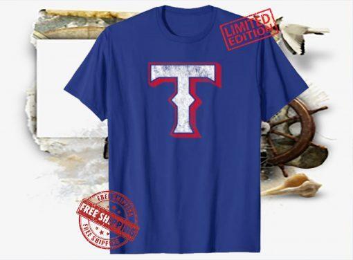 Vintage Texas Baseball T Distressed Game Day Ranger Blue Hoodies T-Shirt