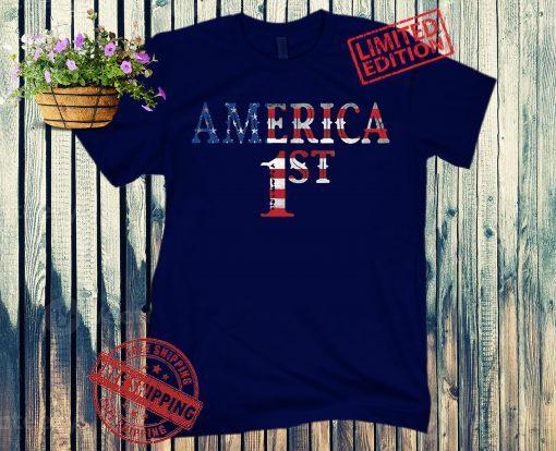 America 1ST Patriot USA Pride American 2nd Amendment Gun Trump Military Veteran 4th July Fourth T-shirt