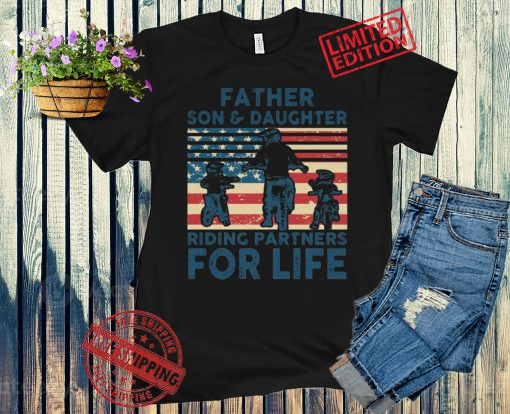 American Day 4th July Father Son Daughter Riding Partners For Life Unisex Shirt