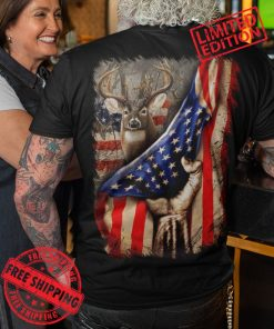 Deer Hunting Shirt for men, Fist Hand Pulling USA Flag Shirt for Hunters, Distressed American Flag, Hunting Gear for men, hunting lovers T-Shirt