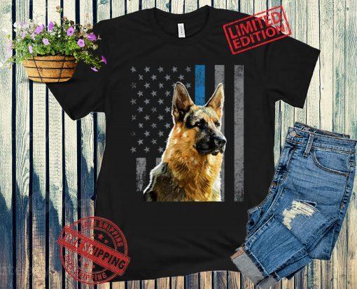 German Shepherd Police Dog Gift Flag Shirt