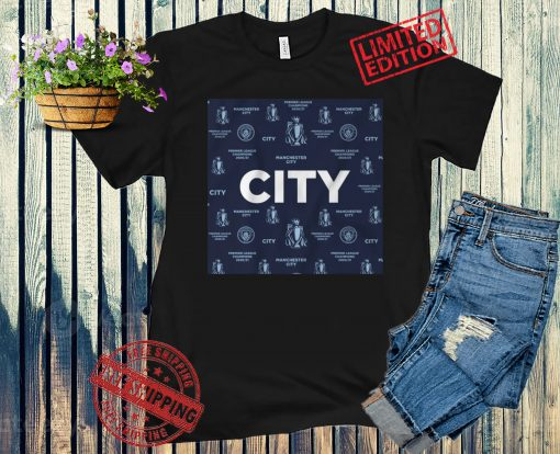 MANCHESTER CITY 2021 CHAMPIONS POSTER T-SHIRT