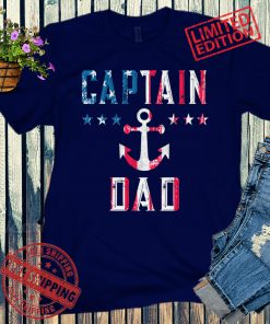 Patriotic Captain Dad American Flag Boating Shirt, Personalized Boating Gift for Men 4th of July Shirt