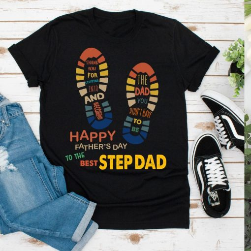 Retro Vintage Happy Fathers Day To The Best Stepdad Tee, Retro Stepdad T-Shirts, Step Father Day Premium T-Shirts