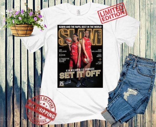 SLAM Fathead A'ja Wilson, Liz Cambage Las Vegas Aces Shirt