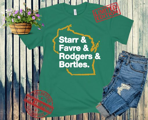 STARR, FAVRE, RODGERS AND BORTLES GB LIST SHIRT