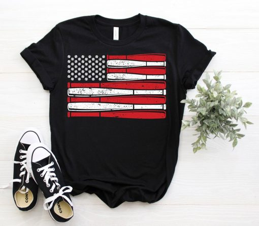 Vintage American Flag Baseball Patriotic US T-Shirt, Gift For Game Fans Coach Players, 4th July Memorial Day Gift