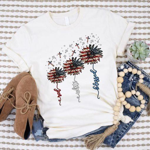 Vintage American Flag Sunflower Red White Blessed T-Shirt, Sunflower Cross Christian 4th of July Gift Tee Shirt