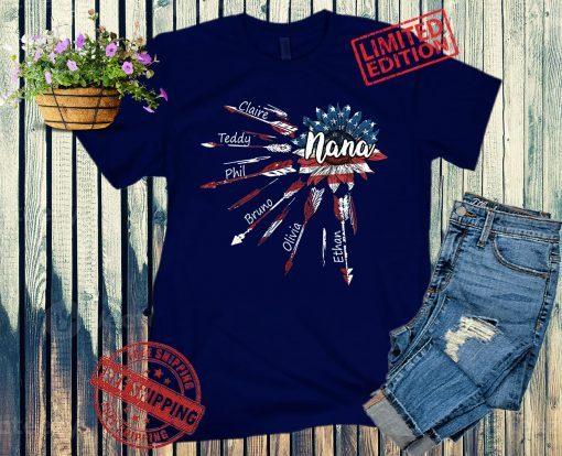 Women's Nana sunflower American Flag Custom Name Shirt