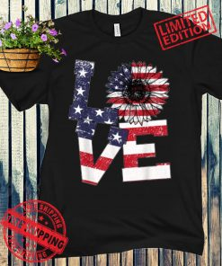 4th Of July Love Sunflower Patriotic American Flag Gift Shirts