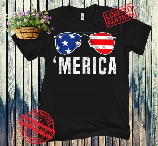 4th Of July Shirt, Independence Day Shirt, 4th Of July Gift, 4th Of July Merica American Flag Sunglasses Boys Girls Kids Tshirt