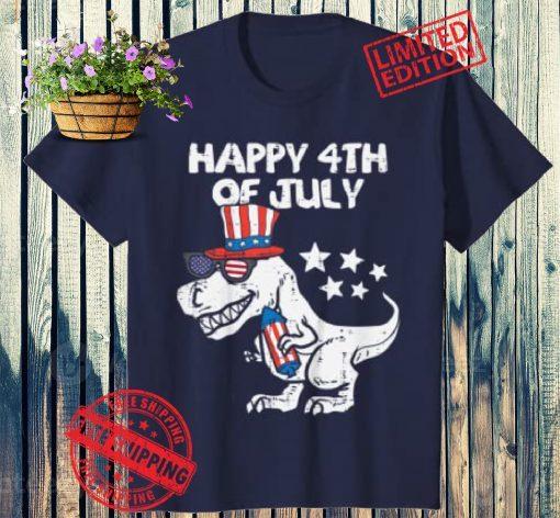 Kids Happy 4th Of July T-Rex Dino Dinosaur Baby Toddler Boys Kids Shot Shirt